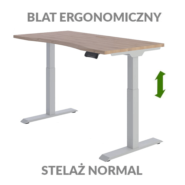 Biurko podnoszone elektycznie Fly Desk drewniane szare. Blat ergonomiczny / stelaż NORMAL