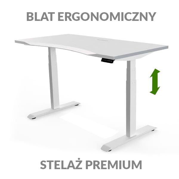 Biurko podnoszone elektycznie Fly Desk biało-biały. Blat ergonomiczny / stelaż PREMIUM