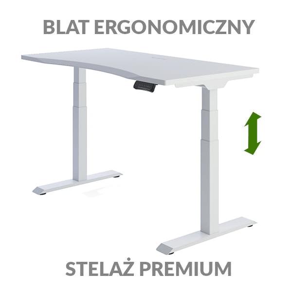 Biurko podnoszone elektycznie Fly Desk biało-białe. Blat ergonomiczny / stelaż PREMIUM