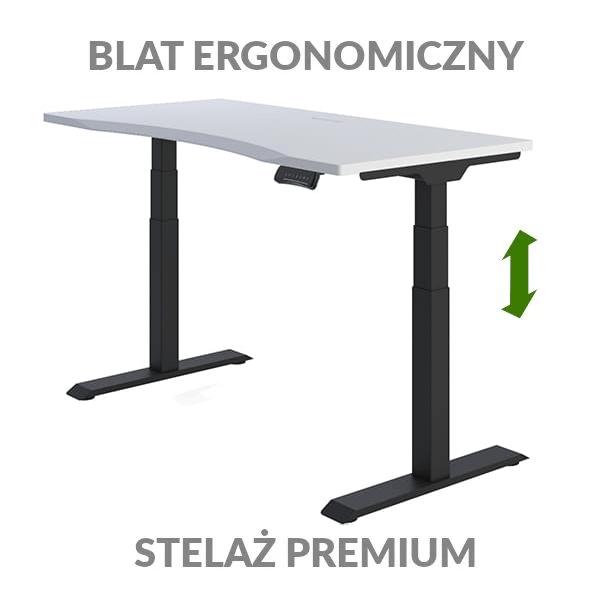 Biurko podnoszone elektycznie Fly Desk biało-czarne. Blat ergonomiczny / stelaż PREMIUM