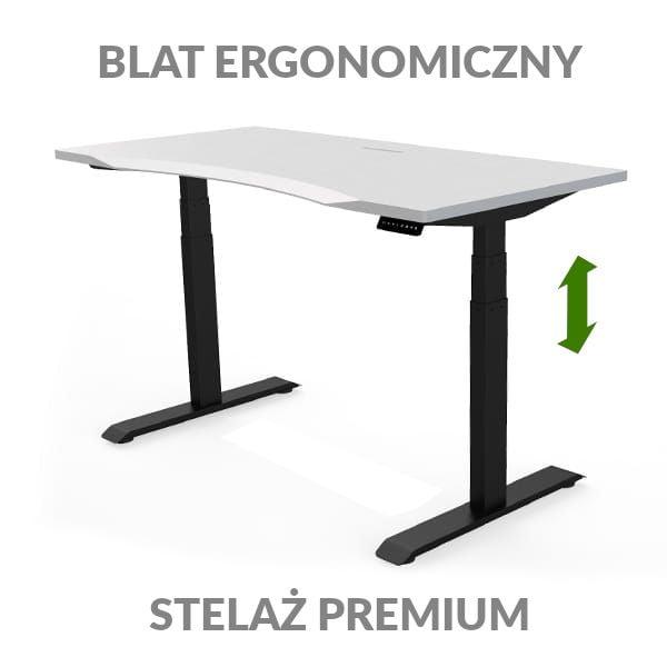 Biurko podnoszone elektycznie Fly Desk biało-czarny. Blat ergonomiczny / stelaż PREMIUM