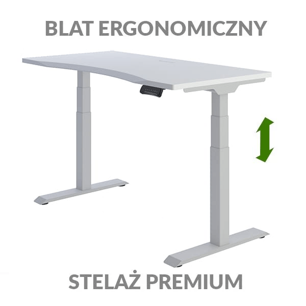 Biurko podnoszone elektycznie Fly Desk biało-szare. Blat ergonomiczny / stelaż PREMIUM
