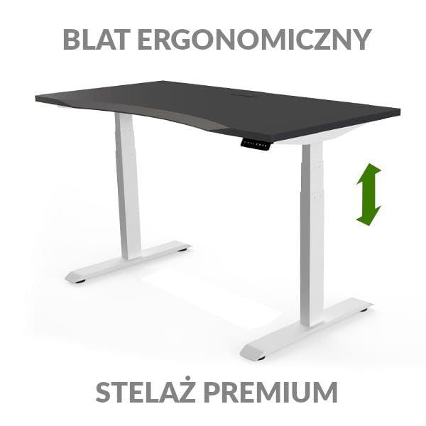Biurko podnoszone elektycznie Fly Desk czarno-biały. Blat ergonomiczny / stelaż PREMIUM