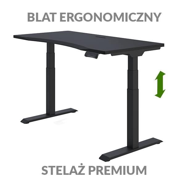 Biurko podnoszone elektycznie Fly Desk czarno-białe. Blat ergonomiczny / stelaż PREMIUM