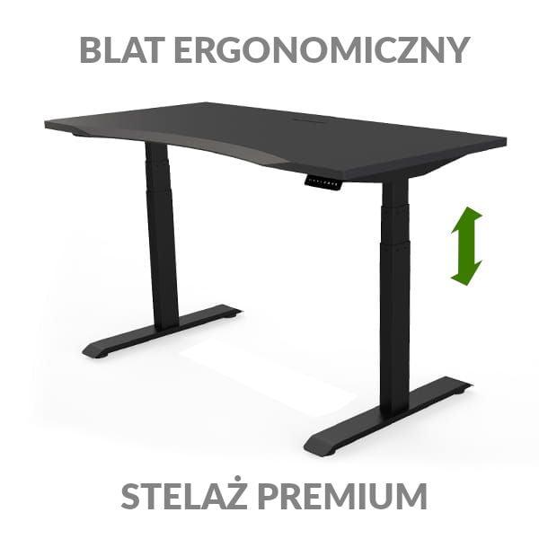 Biurko podnoszone elektycznie Fly Desk czarno-czarny. Blat ergonomiczny / stelaż PREMIUM