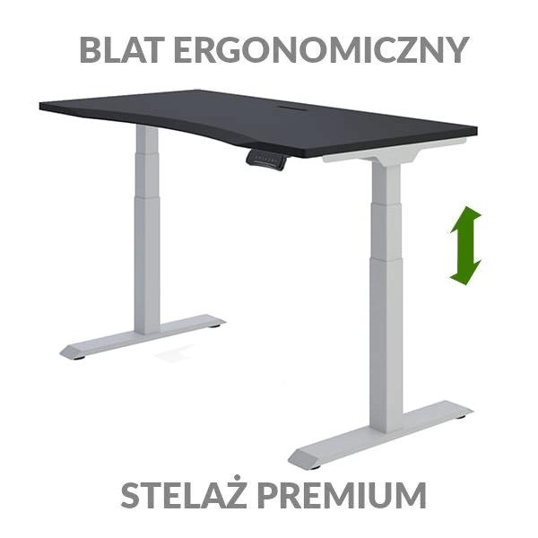 Biurko podnoszone elektycznie Fly Desk czarno-szare. Blat ergonomiczny / stelaż PREMIUM