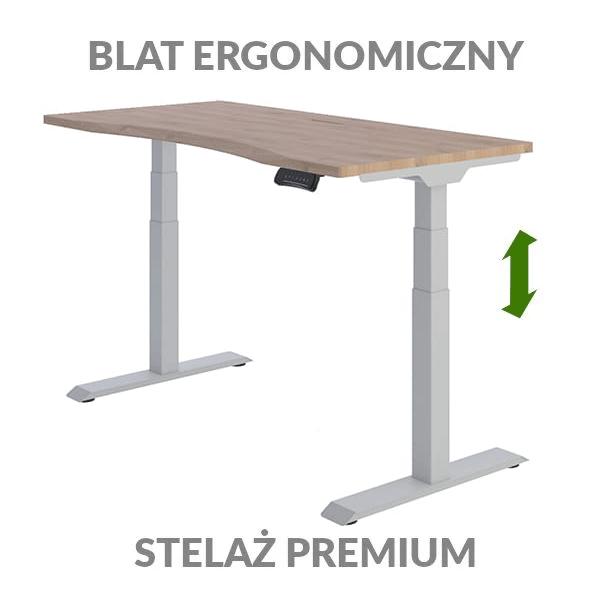 Biurko podnoszone elektycznie Fly Desk drewniano-szare. Blat ergonomiczny / stelaż PREMIUM