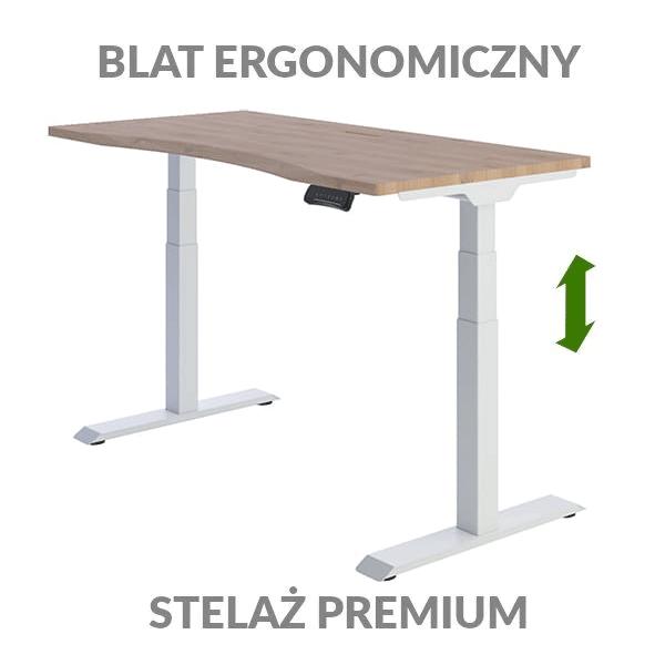 Biurko podnoszone elektycznie Fly Desk drewniano-białe. Blat ergonomiczny / stelaż PREMIUM