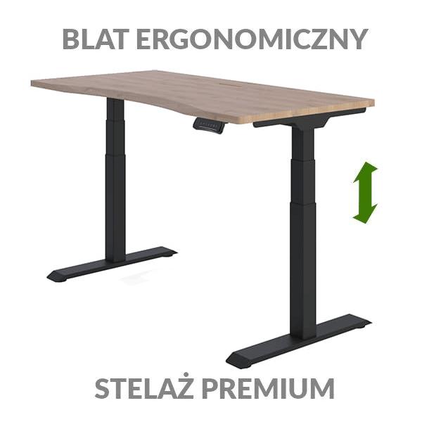 Biurko podnoszone elektycznie Fly Desk drewniano-czarne. Blat ergonomiczny / stelaż PREMIUM