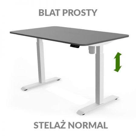 Biurko regulowane elektycznie Fly Desk grafitowo-białe. blat prosty / stelaż NORMAL