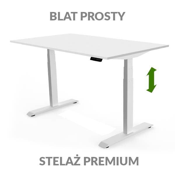 Biurko regulowane elektycznie Fly Desk biało-białe. Blat prosty / stelaż PREMIUM