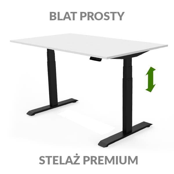Biurko regulowane elektycznie Fly Desk biało-czarne. Blat prosty / stelaż PREMIUM