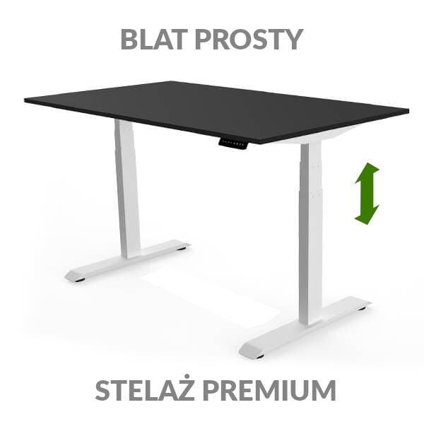 Biurko regulowane elektycznie Fly Desk czarno-białe. Blat prosty / stelaż PREMIUM