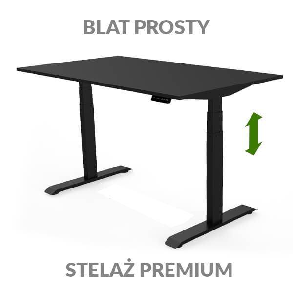Biurko regulowane elektycznie Fly Desk czarno-czarne. Blat prosty / stelaż PREMIUM