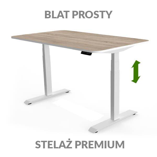 Biurko regulowane elektycznie Fly Desk drewniano-białe. Blat prosty / stelaż PREMIUM