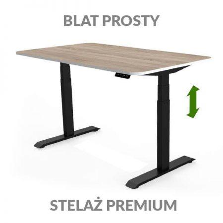 Biurko regulowane elektycznie Fly Desk drewniano-czarne. Blat prosty / stelaż PREMIUM