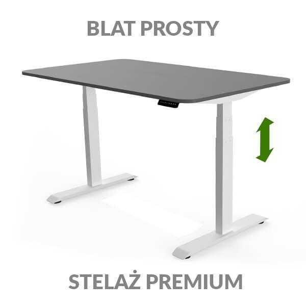 Biurko regulowane elektycznie Fly Desk grafitowo-białe. Blat prosty / stelaż PREMIUM