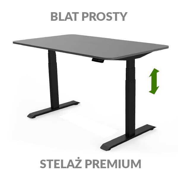 Biurko regulowane elektycznie Fly Desk grafitowo-czarne. Blat prosty / stelaż PREMIUM