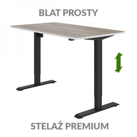 Biurko regulowane blat Fly Desk blat prosty stelaż PREMIUM drewniano-czarne
