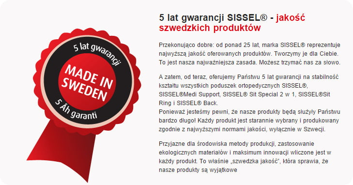Poduszka ortopedyczna Sissel - szwedzka , skandynawska