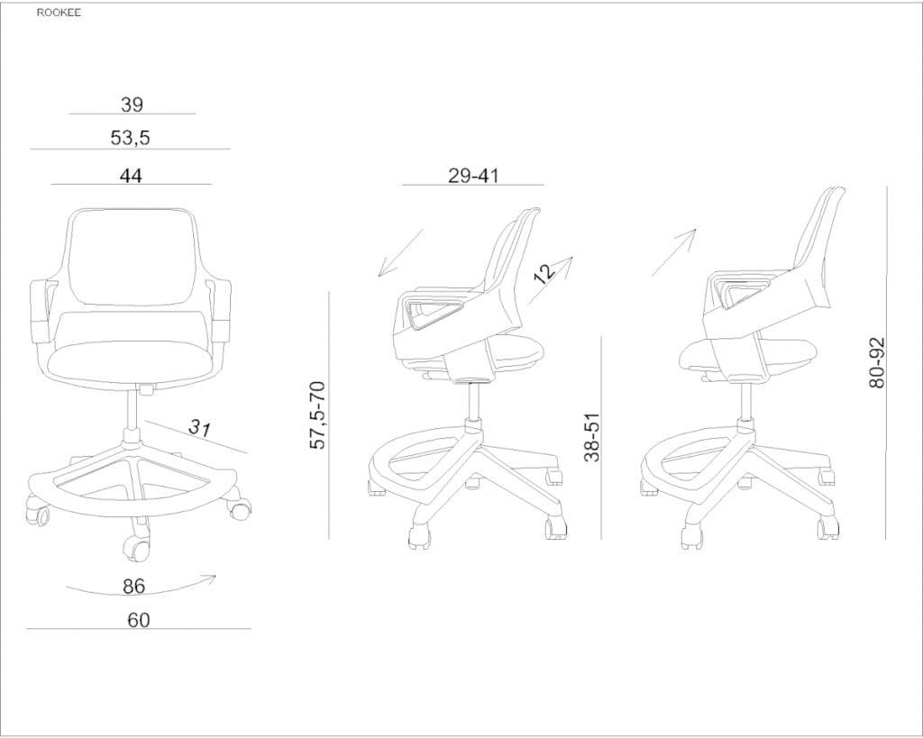 Wymiary Krzesła Unique ROOKEE - fotel dla dziecka