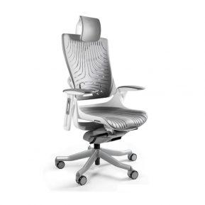 Ergonomiczny fotel biurowy Unique Wau 2 z białym stelażem i elastomerem w kolorze TPE-8 SZARY