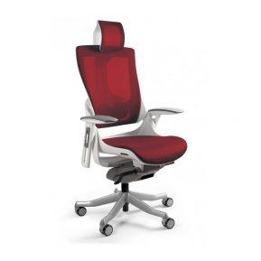 Ergonomiczny fotel biurowy Unique Wau 2 z białym stelażem i siatką w kolorze NW44 CZERWONY