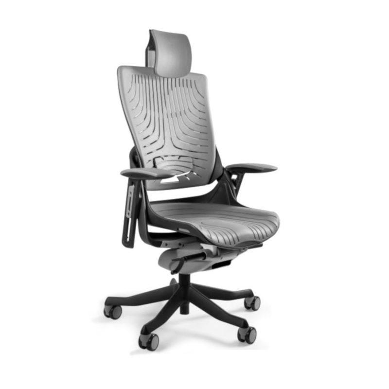 Ergonomiczny fotel biurowy Unique Wau 2 z czarnym stelażem i elastomerem w kolorze TPE-8 SZARY