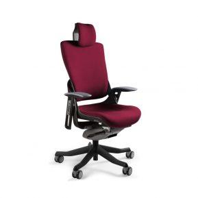 Ergonomiczny fotel biurowy Unique Wau 2 z czarnym stelażem i tapicerką w kolorze BL403-BURGUNDY