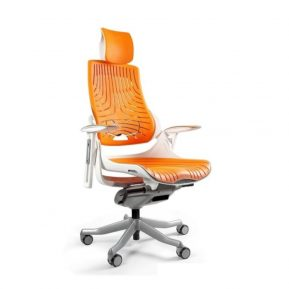 Ergonomiczny fotel biurowy Unique Wau z białym stelażem i elastomerem w kolorze TPE-12 Mango