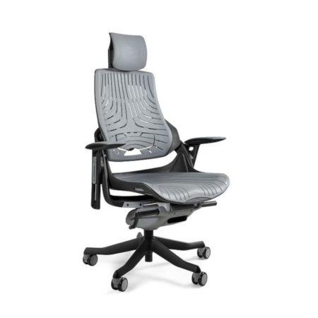 Ergonomiczny fotel biurowy Unique Wau z czarnym stelażem i elastomerem w kolorze TPE-8 SZARY