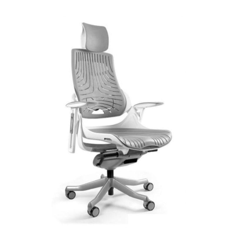 Ergonomiczny fotel biurowy Unique Wau z białym stelażem i elastomerem w kolorze TPE-8 SZARY