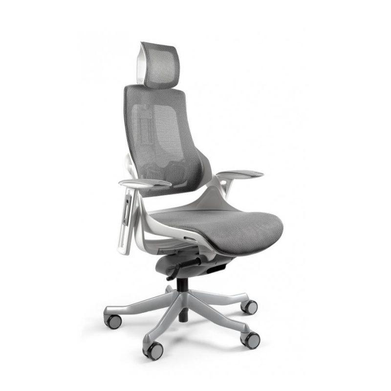 Ergonomiczny fotel biurowy Unique Wau z białym stelażem i siatką w kolorze NW41 Grafit