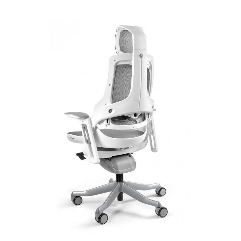 Ergonomiczny fotel biurowy Unique Wau z białym stelażem i siatką w kolorze NW41 Grafit z tył