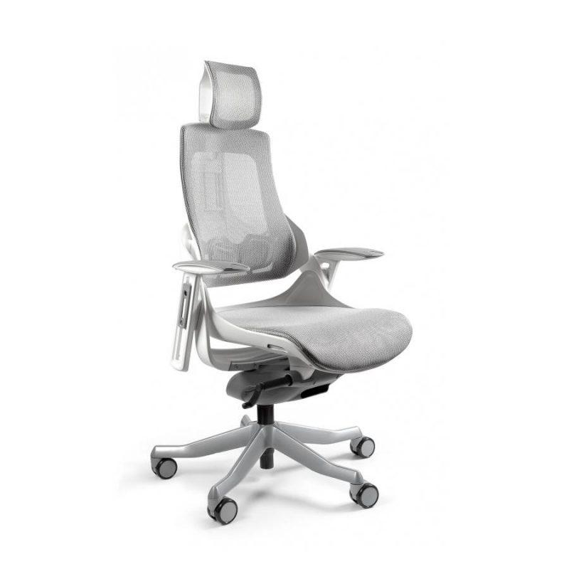 Ergonomiczny fotel biurowy Unique Wau z białym stelażem i siatką w kolorze NW42 Jasny Szary