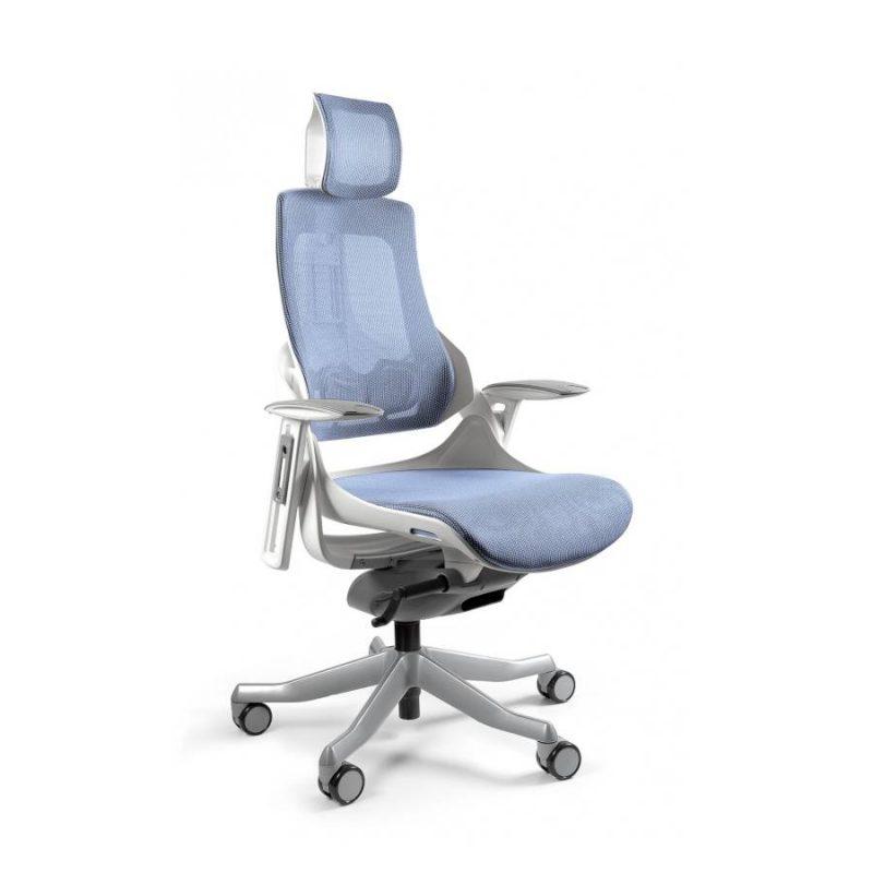Ergonomiczny fotel biurowy Unique Wau z białym stelażem i siatką w kolorze NW43 Niebieski