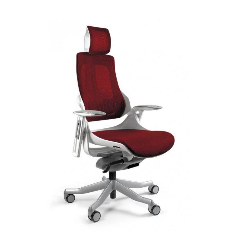 Ergonomiczny fotel biurowy Unique Wau z białym stelażem i siatką w kolorze NW44 Czerwony