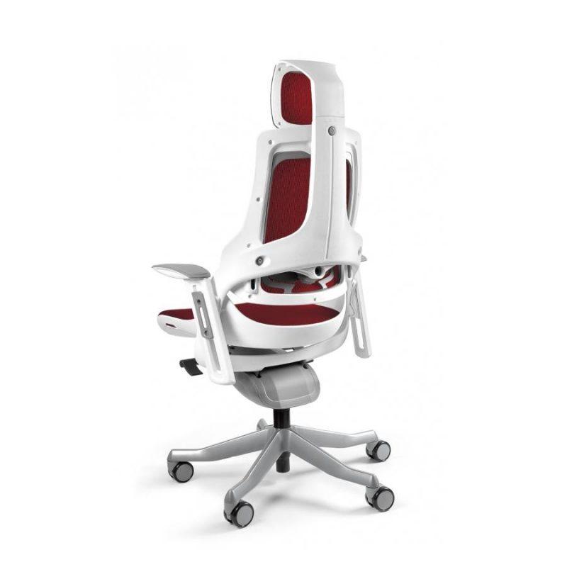 Ergonomiczny fotel biurowy Unique Wau z białym stelażem i siatką w kolorze NW44 Czerwony z tył
