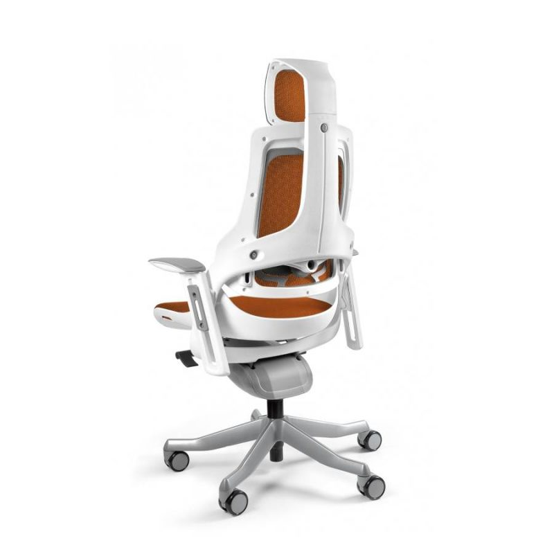 Ergonomiczny fotel biurowy Unique Wau z białym stelażem i siatką w kolorze NW45-Pomaranczowy z tył