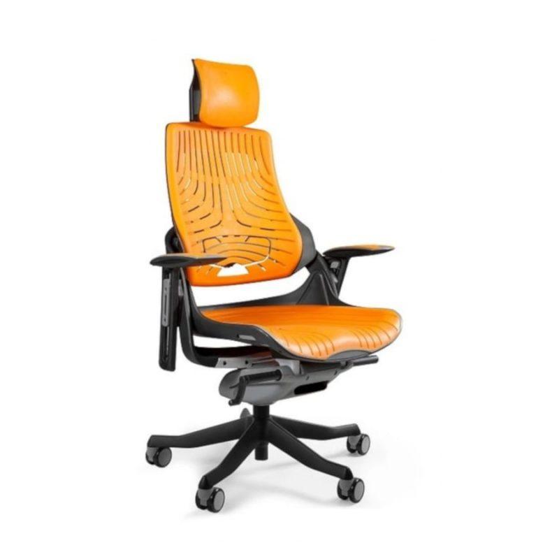 Ergonomiczny fotel biurowy Unique Wau z czarnym stelażem i elastomerem w kolorze TPE-12 Mango