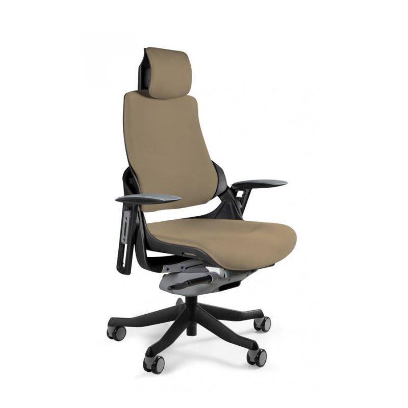 Ergonomiczny fotel biurowy Unique Wau z czarnym stelażem i tapicerką w kolorze BL409-TAUPE