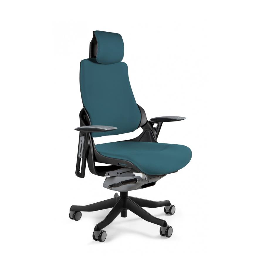 Ergonomiczny fotel biurowy Unique Wau z czarnym stelażem