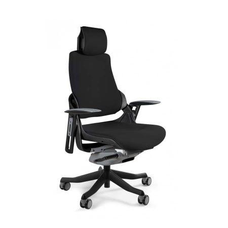 Ergonomiczny fotel biurowy Unique Wau z czarnym stelażem i tapicerką w kolorze czarnym BL418 Black