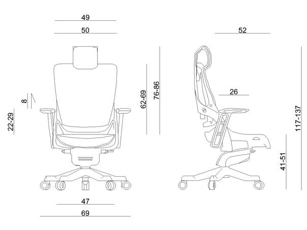 Wymiary fotela ergonomicznego Unique WAU 2