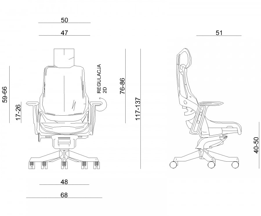 Wymiary fotela ergonomicznego Unique WAU