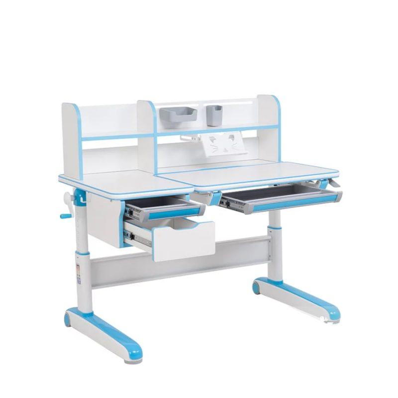 Biurko regulowane dla dziecka Fun Desk Libro Blue przód szuflady