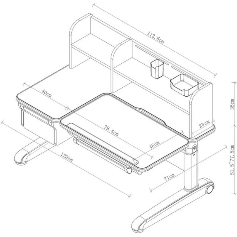 Biurko regulowane dla dziecka Fun Desk Libro Grey Wymiary