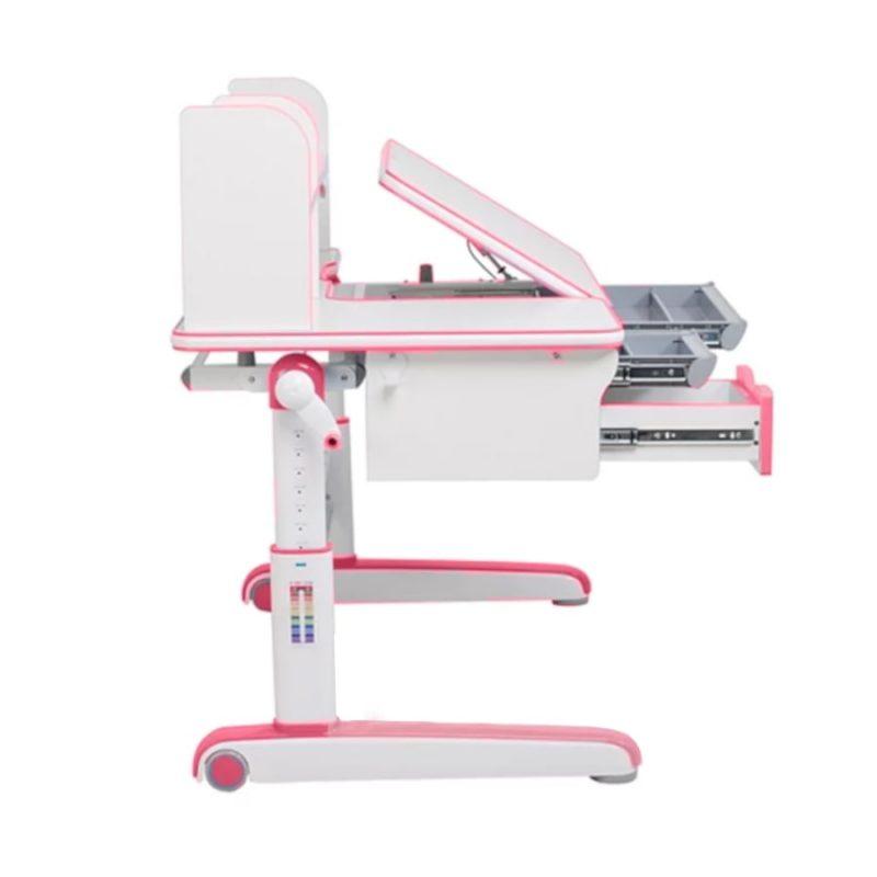 Biurko regulowane dla dziecka Fun Desk Libro Pink z boku