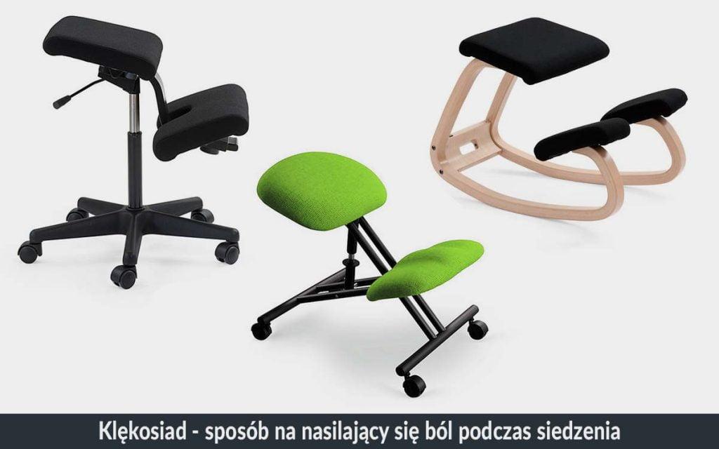 Ergonomiczne stanowisko pracy z klękosiadem / klęcznikiem biurowym