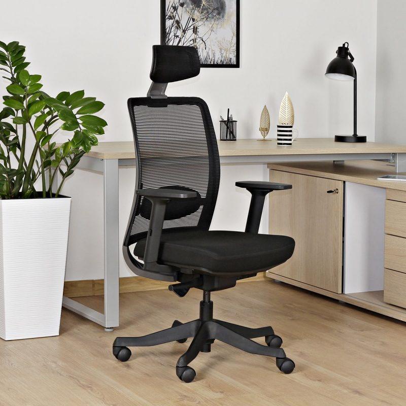 Fotel ergonomiczny Unique ANGGUN Czarna Siatka 1199-B do komputera